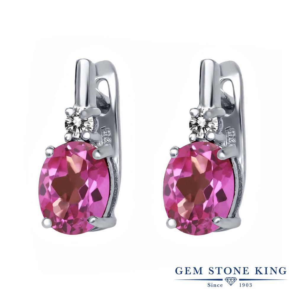 Gem Stone King 4.73カラット 天然 ミスティックトパーズ (ピンク) 天然 ダイヤモンド シルバー925 ピアス レディース 大粒 ぶら下がり レバーバック 天然石 金属アレルギー対応 誕生日プレゼント