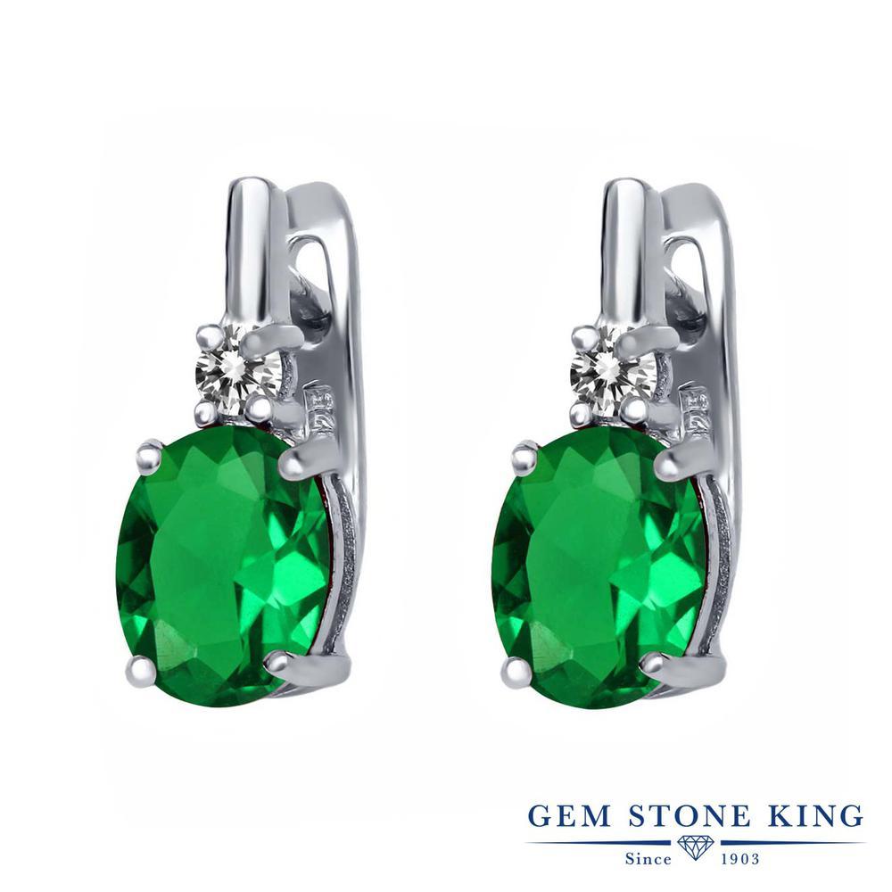 Gem Stone King 4.73カラット ナノエメラルド 天然 ダイヤモンド シルバー925 ピアス レディース 大粒 ぶら下がり レバーバック 金属アレルギー対応 誕生日プレゼント