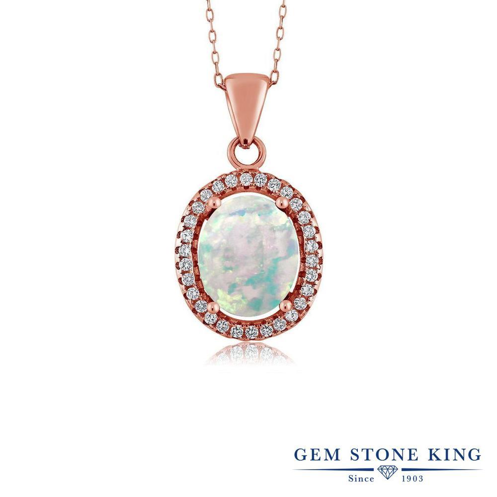 Gem Stone King 2.4カラット シミュレイテッド ホワイトオパール シルバー925 ピンクゴールドコーティング ネックレス ペンダント レディース 大粒 10月 誕生石 金属アレルギー対応 誕生日プレゼント