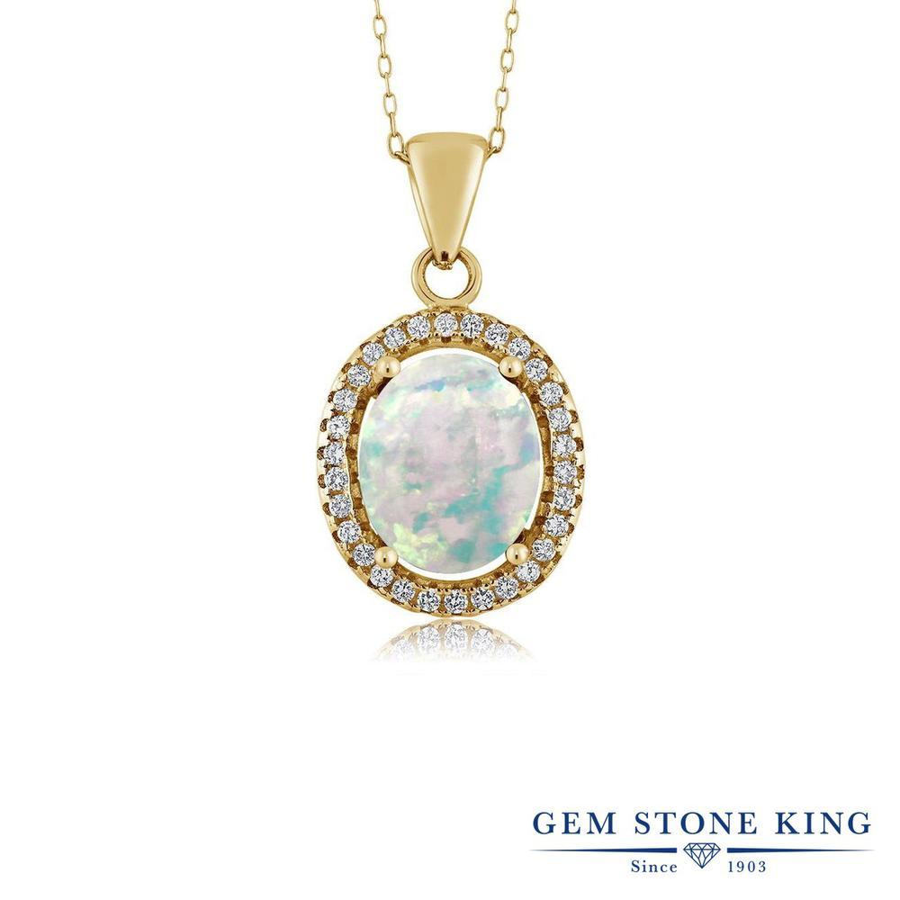 Gem Stone King 2.4カラット シミュレイテッド ホワイトオパール シルバー925 イエローゴールドコーティング ネックレス ペンダント レディース 大粒 10月 誕生石 金属アレルギー対応 誕生日プレゼント