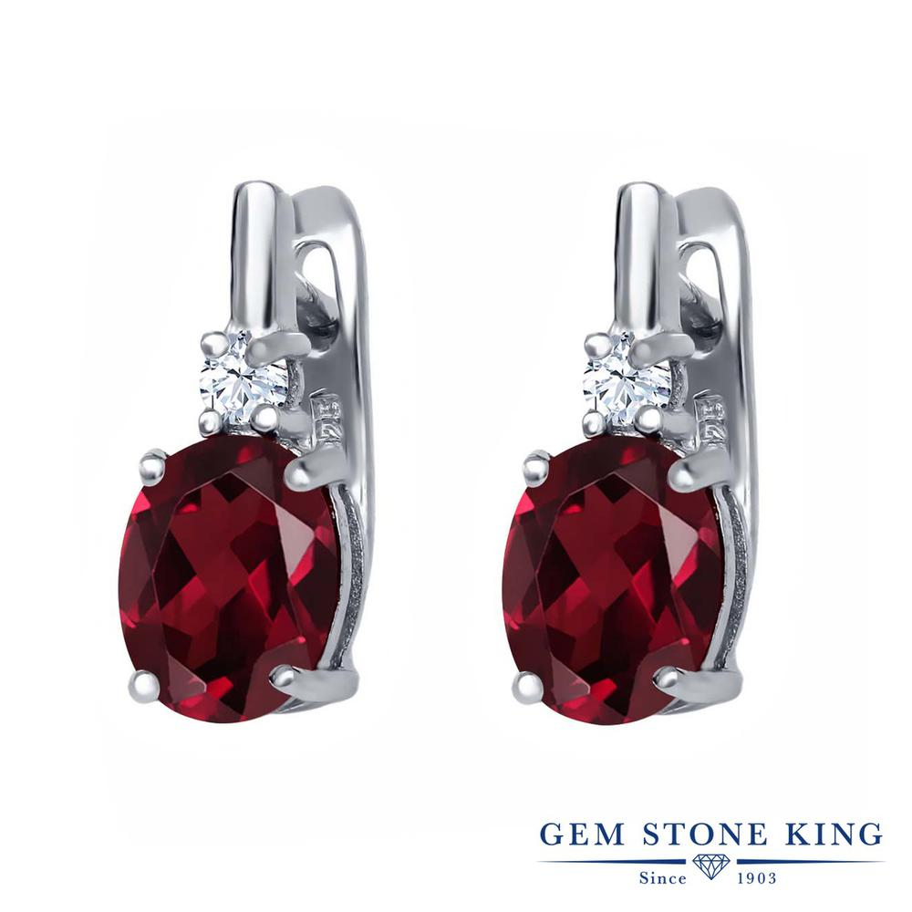 Gem Stone King 4.5カラット 天然 ロードライトガーネット シルバー925 ピアス レディース 大粒 ぶら下がり レバーバック 天然石 金属アレルギー対応 誕生日プレゼント