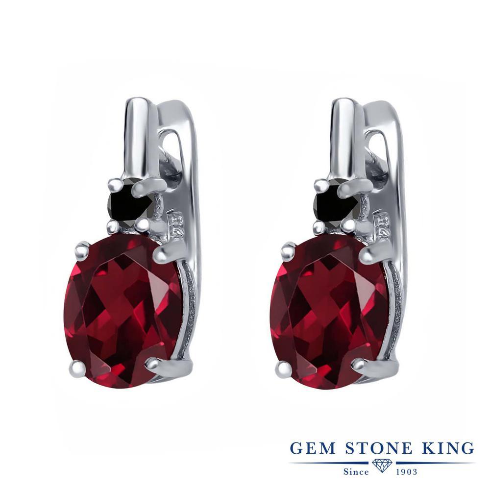 Gem Stone King 4.53カラット 天然 ロードライトガーネット 天然ブラックダイヤモンド シルバー925 ピアス レディース 大粒 ぶら下がり レバーバック 天然石 金属アレルギー対応 誕生日プレゼント