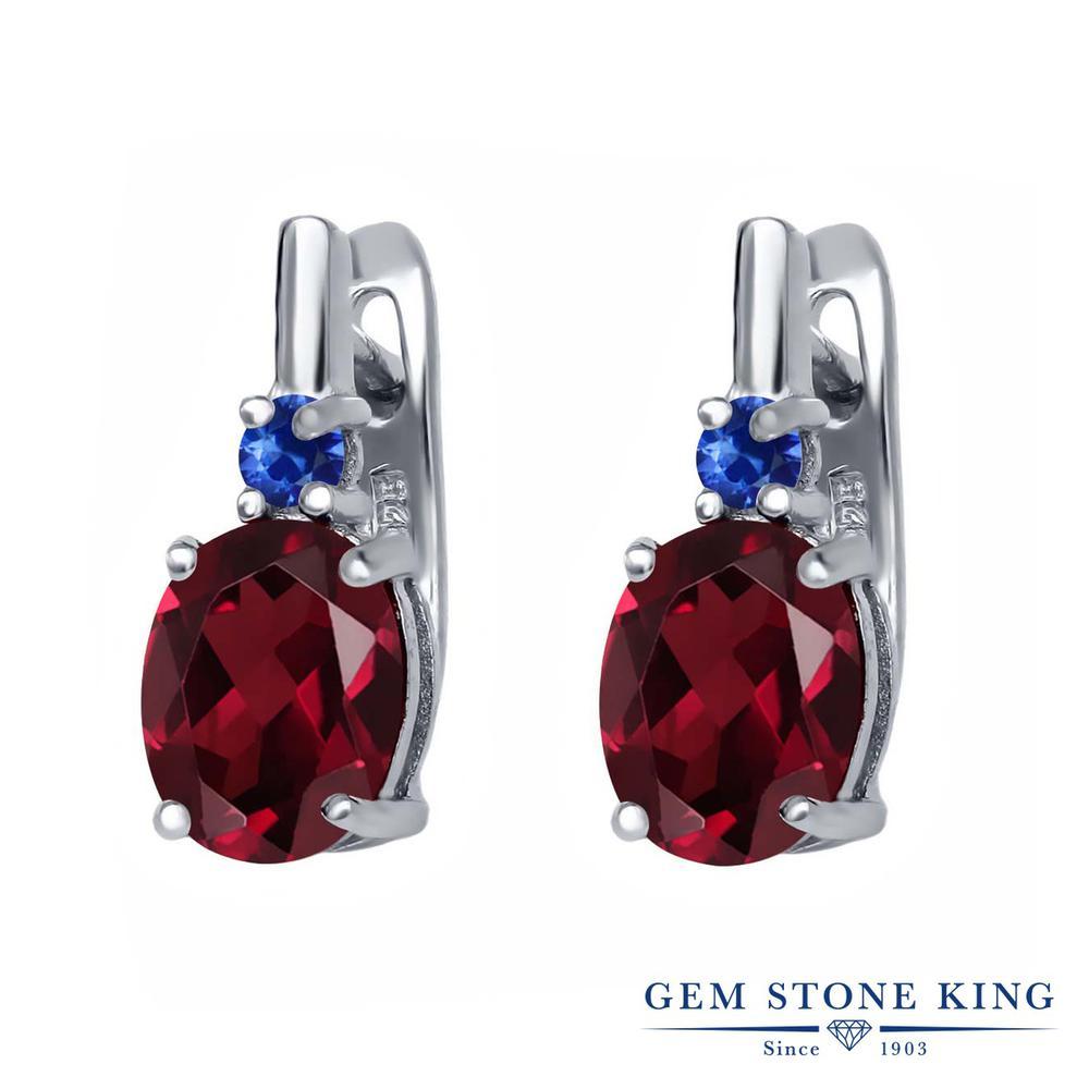 Gem Stone King 4.56カラット 天然 ロードライトガーネット 天然 サファイア シルバー925 ピアス レディース 大粒 ぶら下がり レバーバック 天然石 金属アレルギー対応 誕生日プレゼント