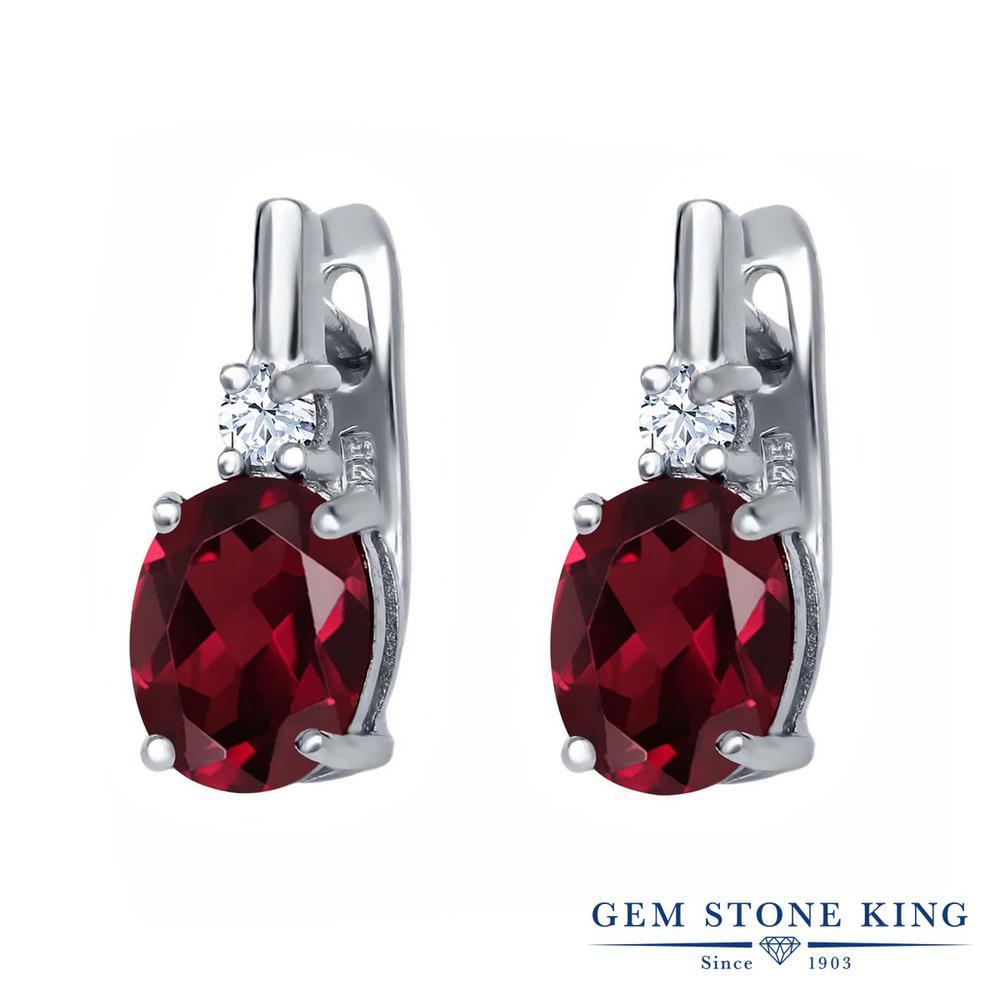 Gem Stone King 4.56カラット 天然 ロードライトガーネット 天然 トパーズ (無色透明) シルバー925 ピアス レディース 大粒 ぶら下がり レバーバック 天然石 金属アレルギー対応 誕生日プレゼント