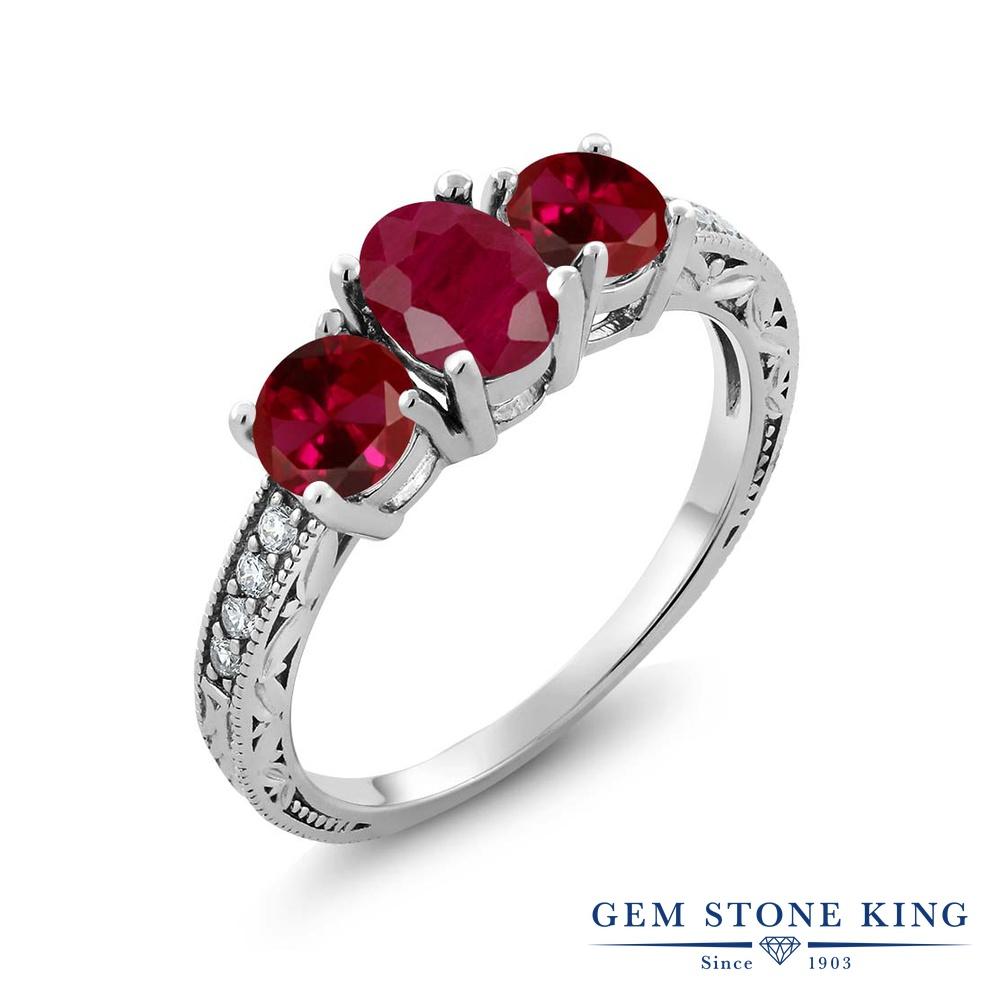 Gem Stone King 2.34カラット 天然 ルビー シルバー925 指輪 リング レディース 大粒 スリーストーン 天然石 7月 誕生石 金属アレルギー対応 誕生日プレゼント