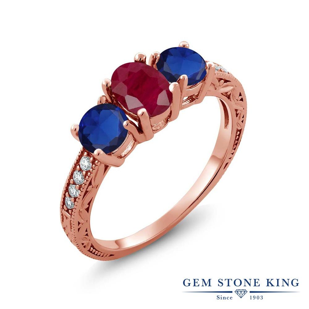 Gem Stone King 2.34カラット 天然 ルビー シミュレイテッド サファイア シルバー925 ピンクゴールドコーティング 指輪 リング レディース 大粒 スリーストーン 天然石 7月 誕生石 金属アレルギー対応 誕生日プレゼント