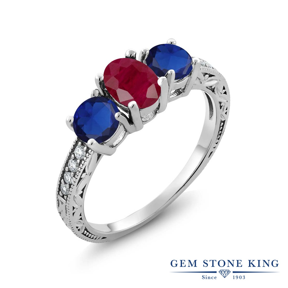 Gem Stone King 2.34カラット 天然 ルビー シミュレイテッド サファイア シルバー925 指輪 リング レディース 大粒 スリーストーン 天然石 7月 誕生石 金属アレルギー対応 誕生日プレゼント
