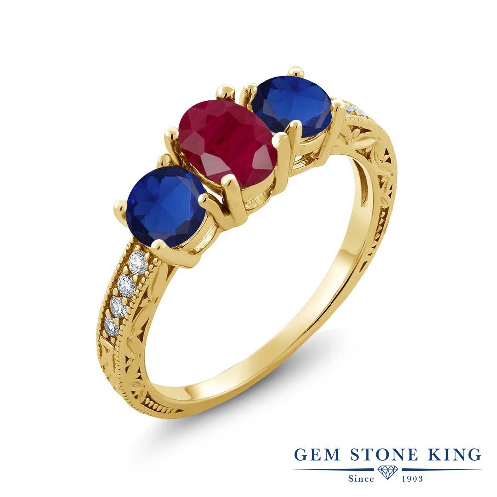 Gem Stone King 2.34カラット 天然 ルビー シミュレイテッド サファイア シルバー925 イエローゴールドコーティング 指輪 リング レディース 大粒 スリーストーン 天然石 7月 誕生石 金属アレルギー対応 誕生日プレゼント