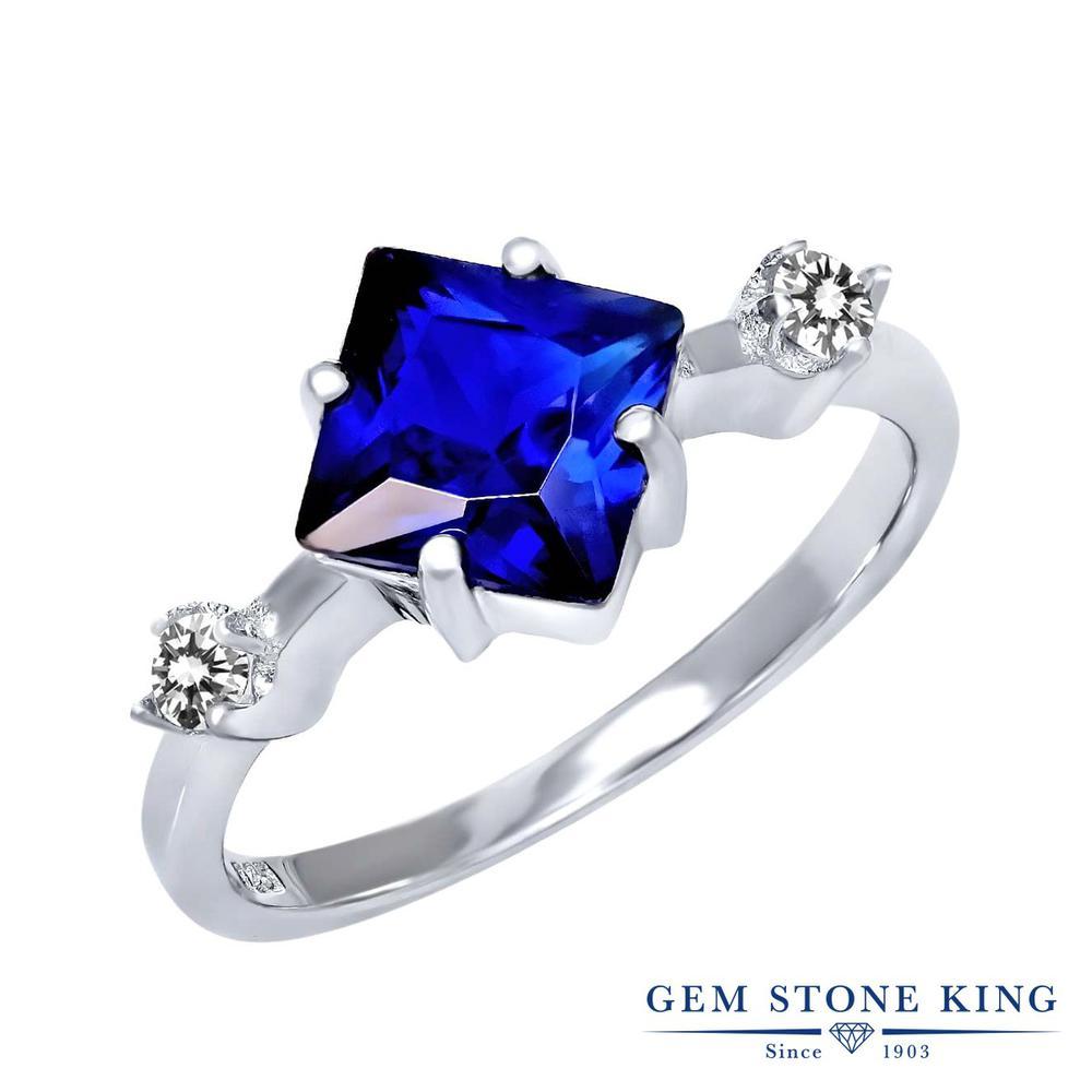Gem Stone King 2.33カラット シミュレイテッド サファイア 天然 ダイヤモンド シルバー925 指輪 リング レディース 大粒 シンプル 金属アレルギー対応 誕生日プレゼント