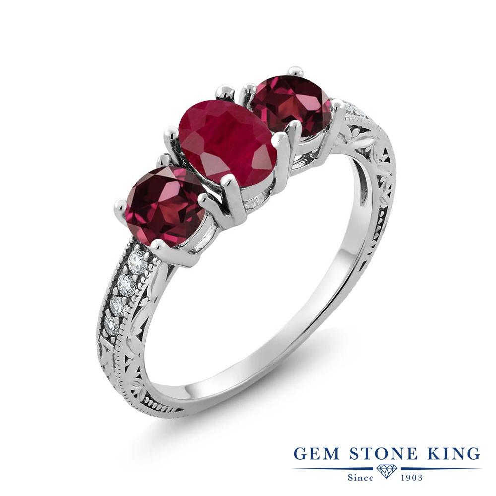 Gem Stone King 2.34カラット 天然 ルビー 天然 ロードライトガーネット シルバー925 指輪 リング レディース 大粒 スリーストーン 天然石 7月 誕生石 金属アレルギー対応 誕生日プレゼント