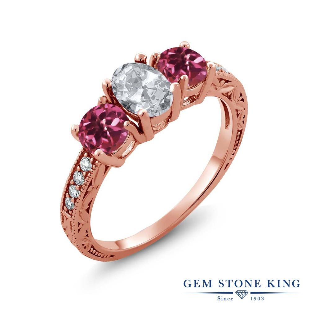 Gem Stone King 2.07カラット 天然 トパーズ (無色透明) AAグレード 天然 ピンクトルマリン シルバー925 ピンクゴールドコーティング 指輪 リング レディース スリーストーン 天然石 11月 誕生石 金属アレルギー対応 誕生日プレゼント