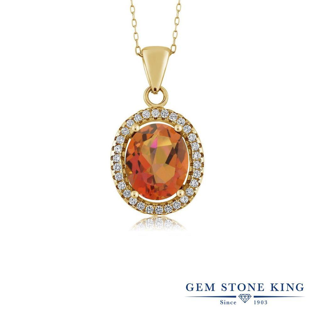 Gem Stone King 4カラット 天然 ミスティッククォーツ (トワイライトオレンジ) シルバー925 イエローゴールドコーティング ネックレス ペンダント レディース 大粒 大ぶり 天然石 金属アレルギー対応 誕生日プレゼント