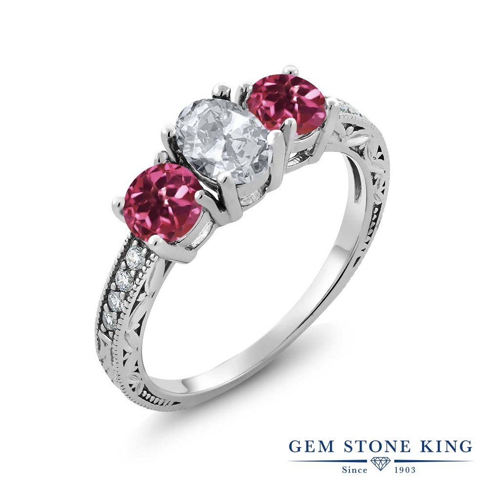 Gem Stone King 2.07カラット 天然 トパーズ (無色透明) AAAグレード 天然 ピンクトルマリン シルバー925 指輪 リング レディース スリーストーン 天然石 11月 誕生石 金属アレルギー対応 誕生日プレゼント