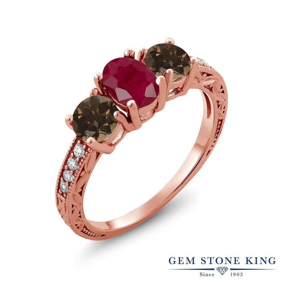 【10%OFF】 Gem Stone King 2.06カラット 天然 ルビー スモーキークォーツ (ブラウン) 指輪 リング レディース シルバー925 ピンクゴールド 加工 大粒 スリーストーン 天然石 7月 誕生石 クリスマスプレゼント 女性 彼女 妻 誕生日