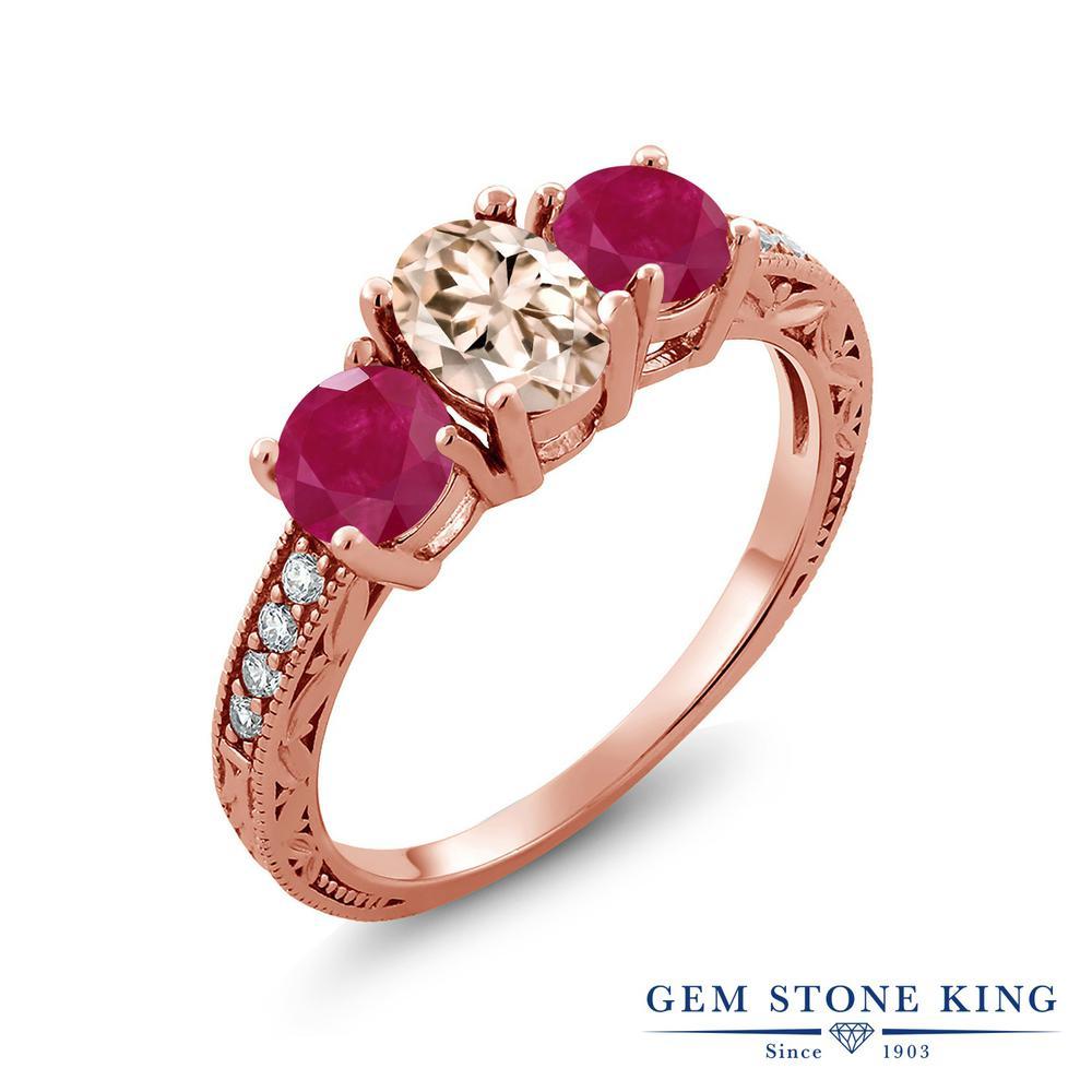 Gem Stone King 1.87カラット 天然 モルガナイト (ピーチ) 天然 ルビー シルバー925 ピンクゴールドコーティング 指輪 リング レディース スリーストーン 天然石 3月 誕生石 金属アレルギー対応 誕生日プレゼント