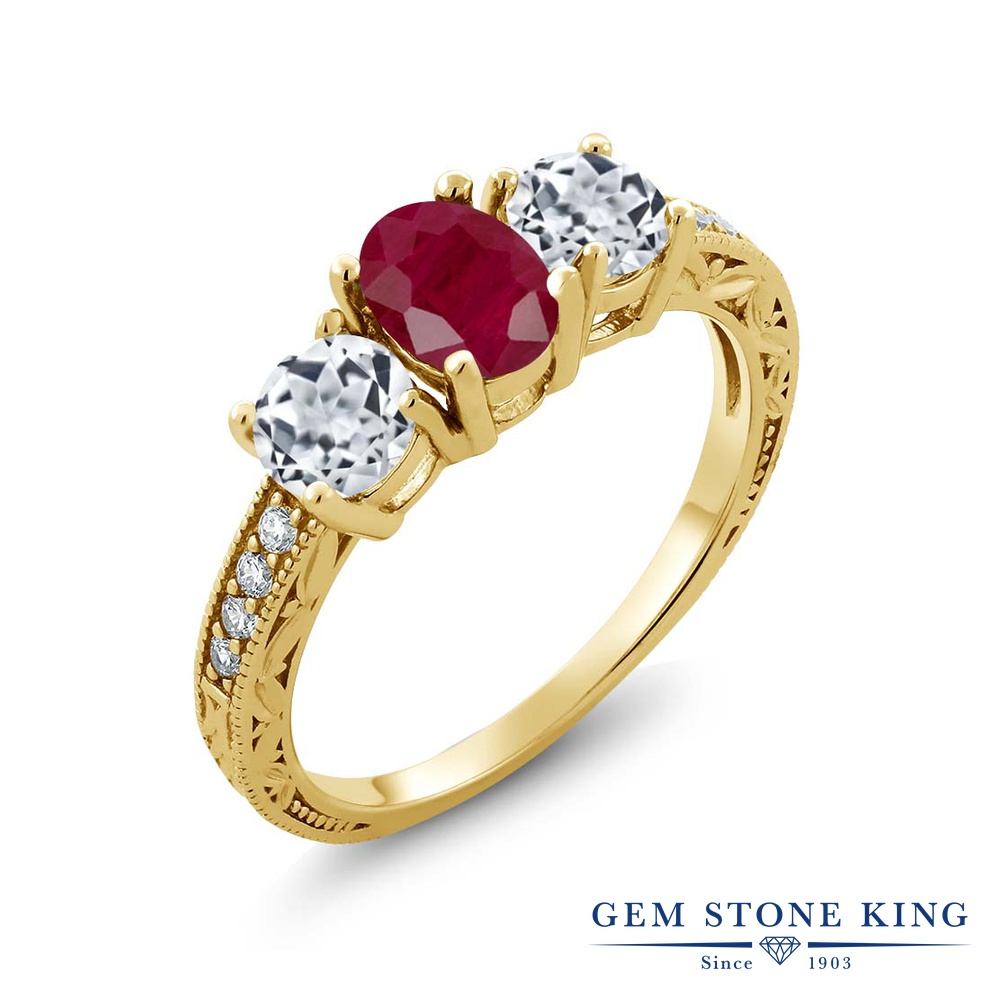 Gem Stone King 2.14カラット 天然 ルビー 天然 トパーズ (無色透明) シルバー925 イエローゴールドコーティング 指輪 リング レディース 大粒 スリーストーン 天然石 7月 誕生石 金属アレルギー対応 誕生日プレゼント