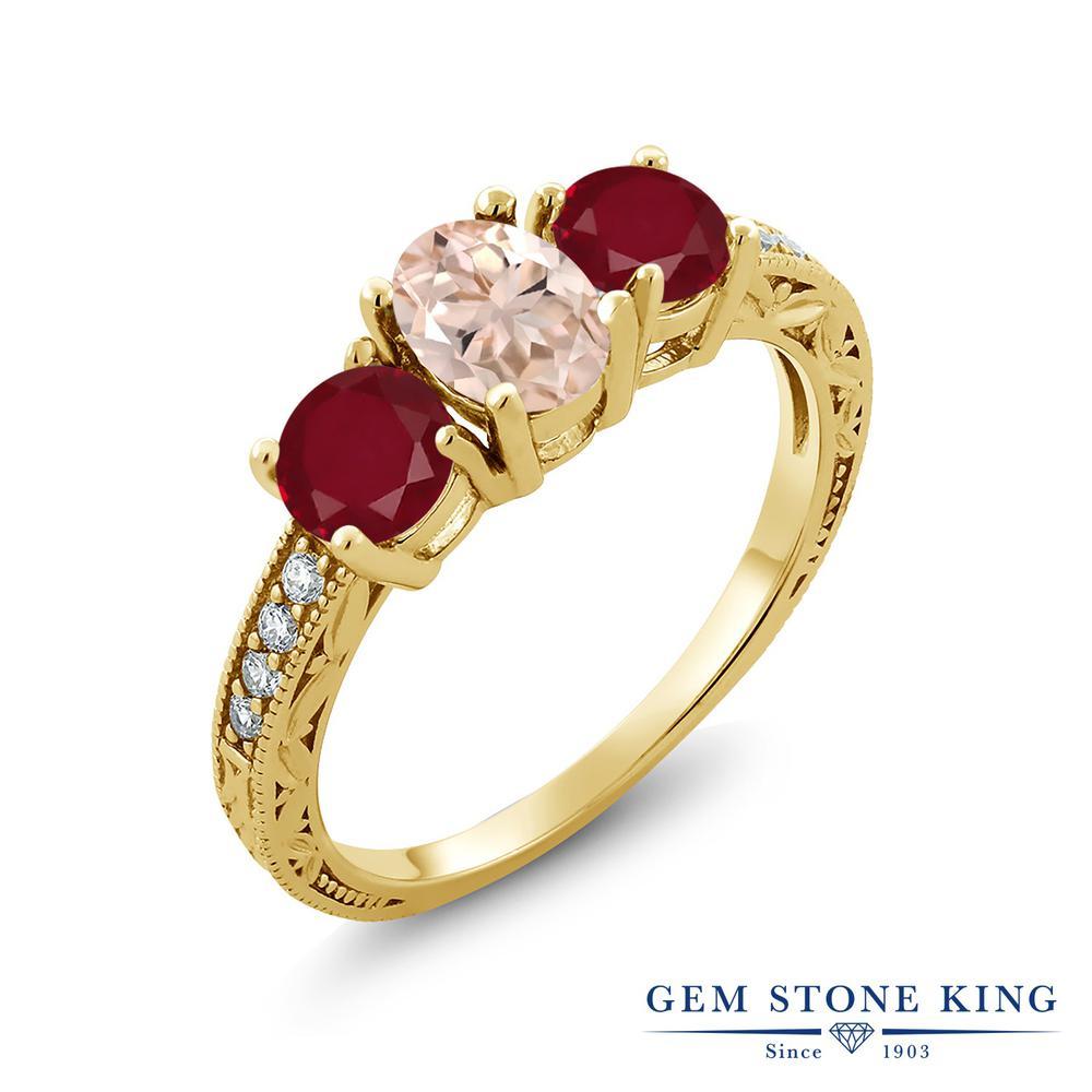 Gem Stone King 1.87カラット 天然 モルガナイト (ピーチ) 天然 ルビー シルバー925 イエローゴールドコーティング 指輪 リング レディース スリーストーン 天然石 3月 誕生石 金属アレルギー対応 誕生日プレゼント