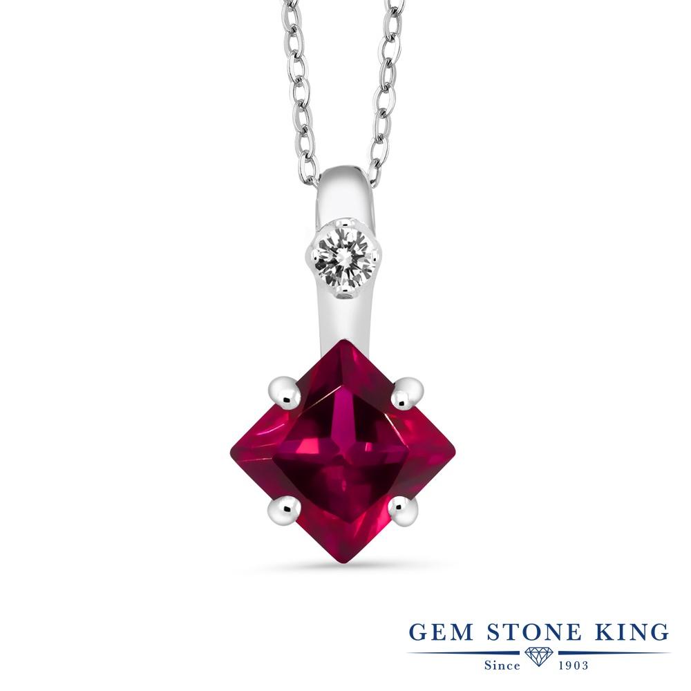 Gem Stone King 1.78カラット 合成ルビー 天然 ダイヤモンド シルバー925 ネックレス ペンダント レディース 大粒 シンプル 金属アレルギー対応 誕生日プレゼント