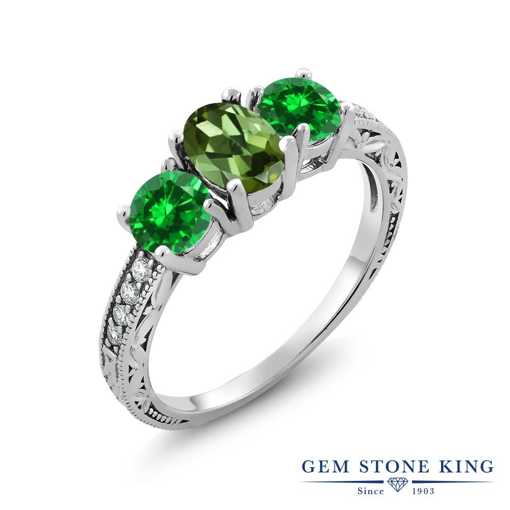 2.5カラット 天然 グリーントルマリン 指輪 レディース リング ナノエメラルド シルバー925 ブランド おしゃれ 3連 リーフ 細工 緑 スリーストーン 天然石 10月 誕生石 金属アレルギー対応