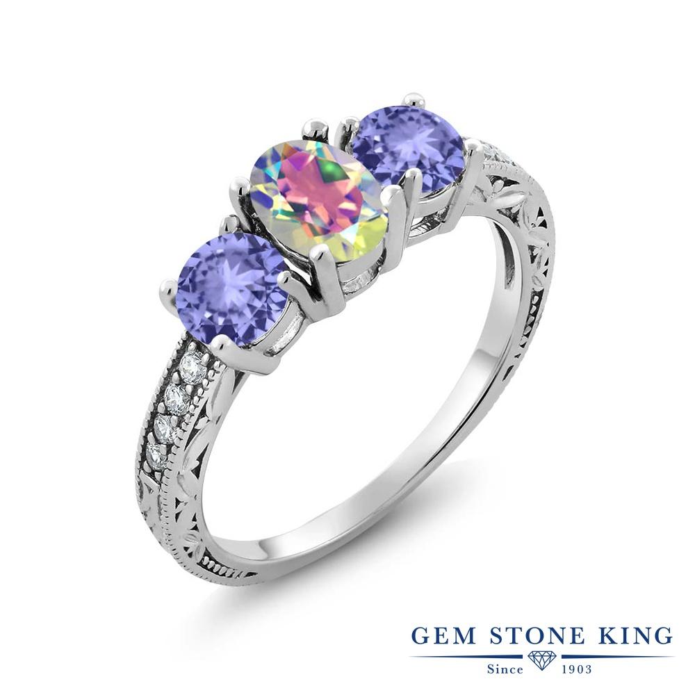 Gem Stone King 1.84カラット 天然石 ミスティックトパーズ (マーキュリーミスト) タンザナイト 指輪 リング レディース シルバー925 スリーストーン 金属アレルギー対応
