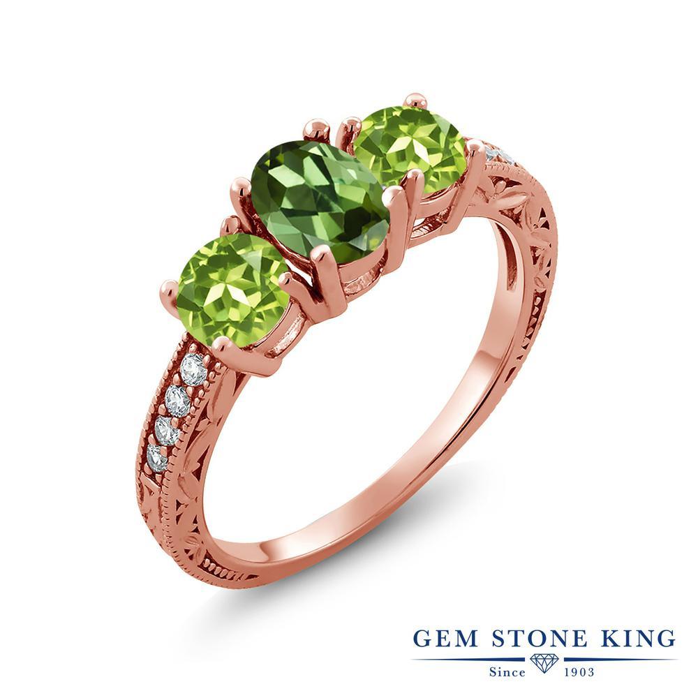 1.95カラット 天然 グリーントルマリン 指輪 レディース リング 天然石 ペリドット ピンクゴールド 加工 シルバー925 ブランド おしゃれ 3連 リーフ 細工 緑 スリーストーン 10月 誕生石 金属アレルギー対応
