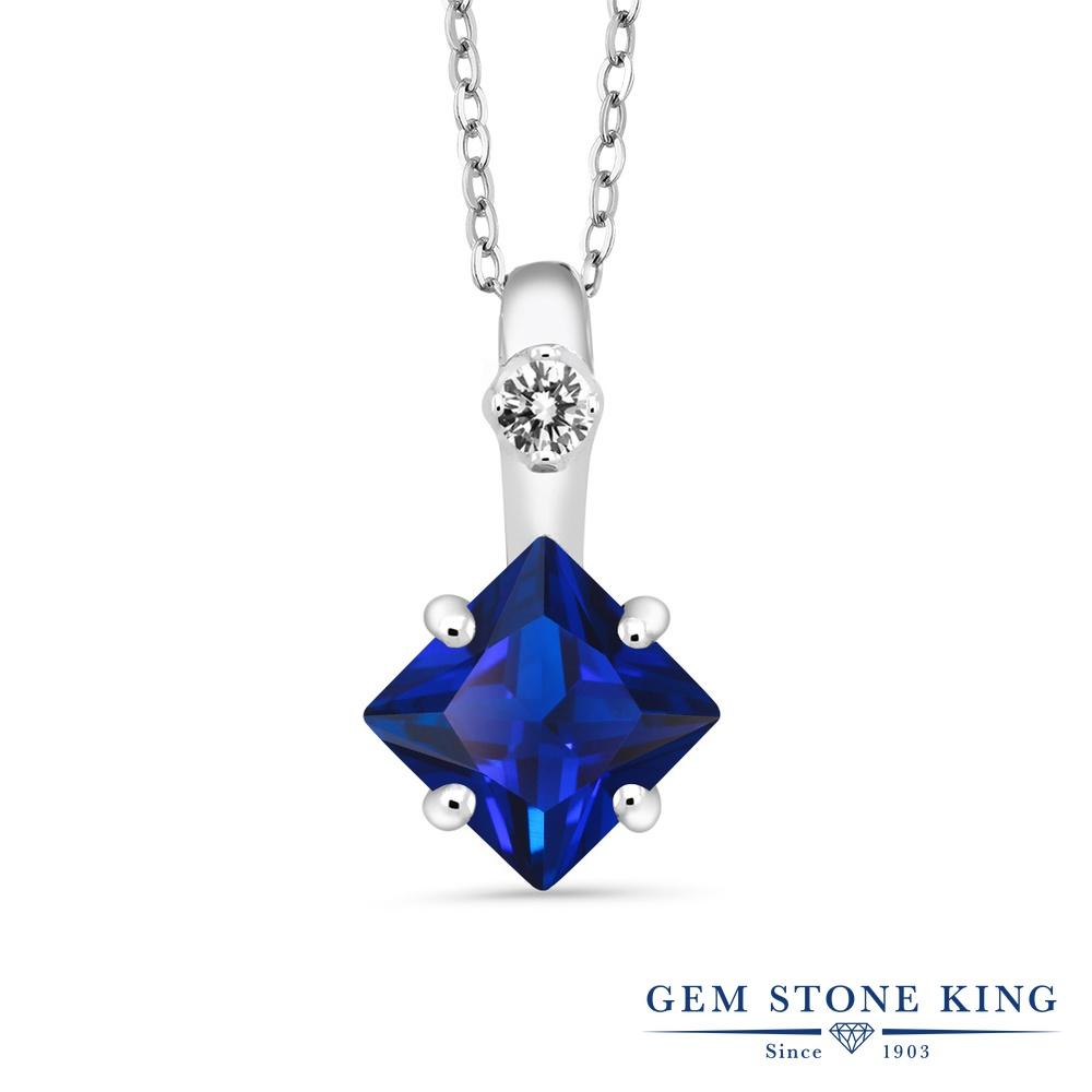 Gem Stone King 2.27カラット シミュレイテッド サファイア 天然 ダイヤモンド シルバー925 ネックレス ペンダント レディース 大粒 シンプル 金属アレルギー対応 誕生日プレゼント