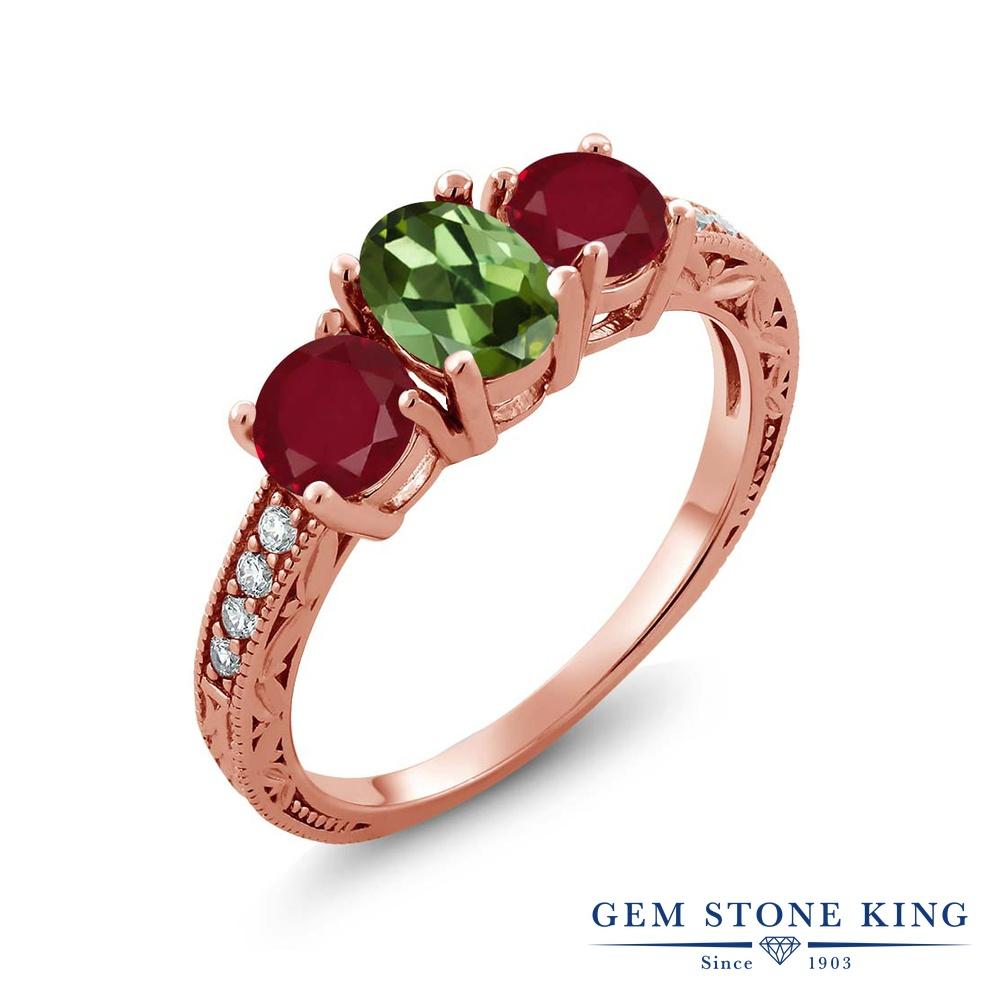 Gem Stone King 1.92カラット 天然 グリーントルマリン 天然 ルビー シルバー925 ピンクゴールドコーティング 指輪 リング レディース スリーストーン 天然石 10月 誕生石 金属アレルギー対応 誕生日プレゼント