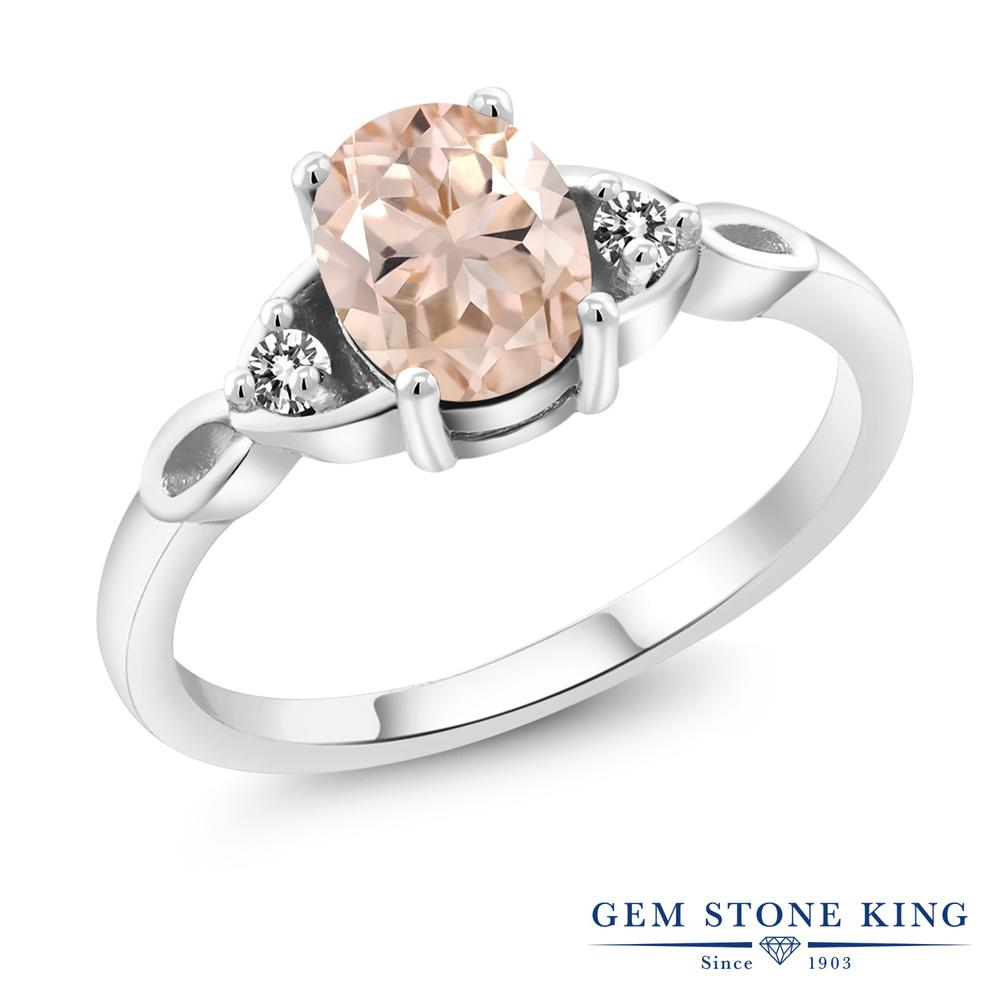Gem Stone King 1.07カラット 天然 モルガナイト (ピーチ) 天然 ダイヤモンド シルバー925 指輪 リング レディース 大粒 シンプル スリーストーン 天然石 3月 誕生石 金属アレルギー対応 誕生日プレゼント
