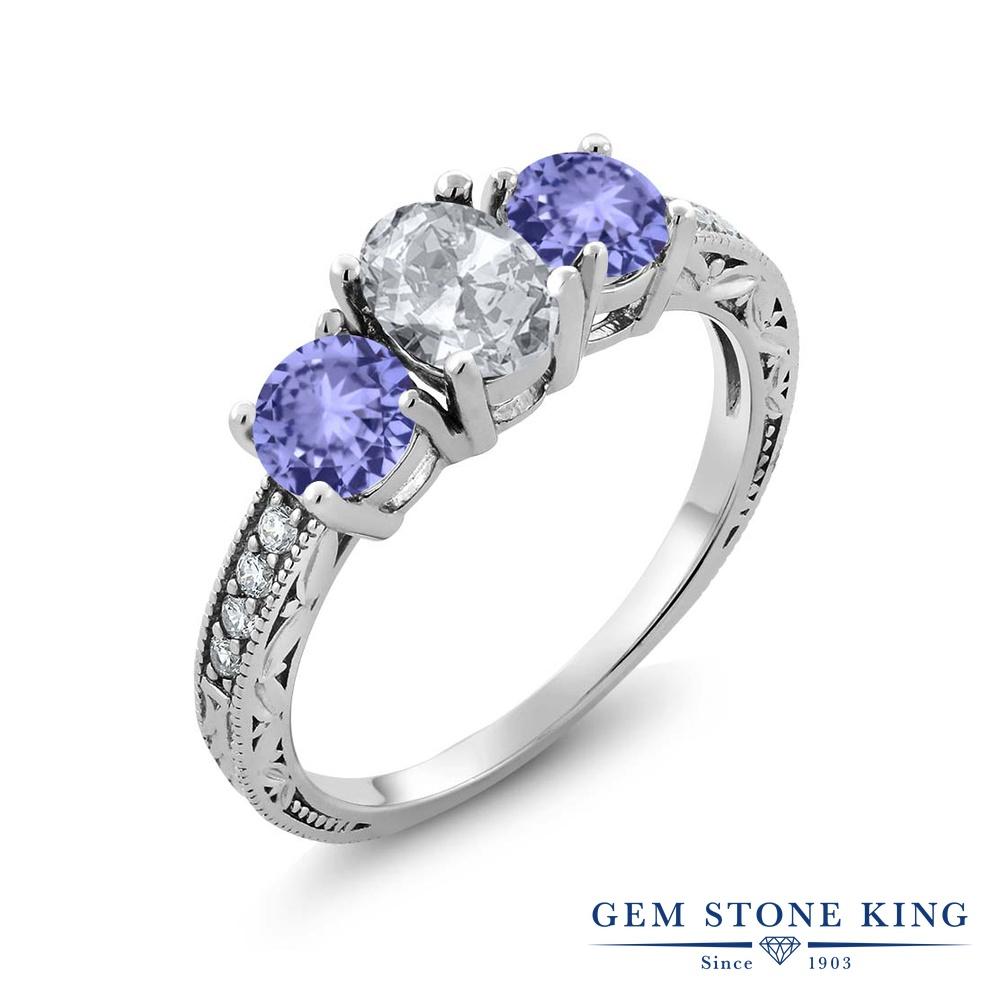 Gem Stone King 1.99カラット 天然 トパーズ 天然石 タンザナイト 指輪 リング レディース シルバー925 スリーストーン 11月 誕生石 金属アレルギー対応