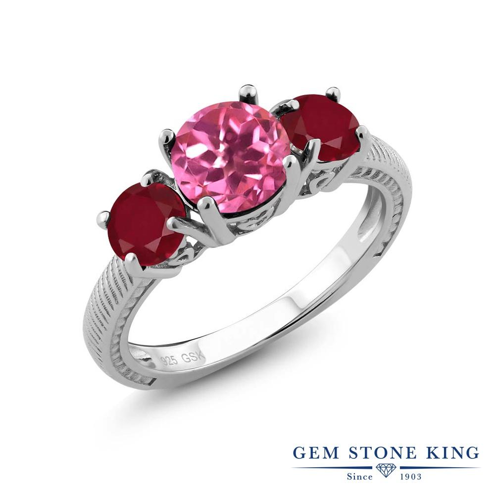 Gem Stone King 2.4カラット 天然 ミスティックトパーズ (ピンク) 天然 ルビー シルバー925 指輪 リング レディース 大粒 シンプル スリーストーン 天然石 金属アレルギー対応 誕生日プレゼント