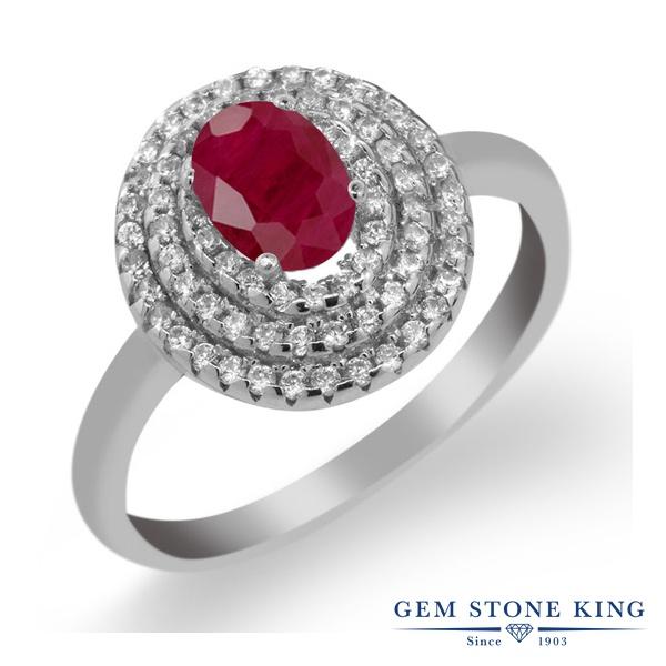 Gem Stone King 2.02カラット 天然 ルビー シルバー925 指輪 リング レディース 大粒 ヘイロー 天然石 7月 誕生石 金属アレルギー対応 誕生日プレゼント