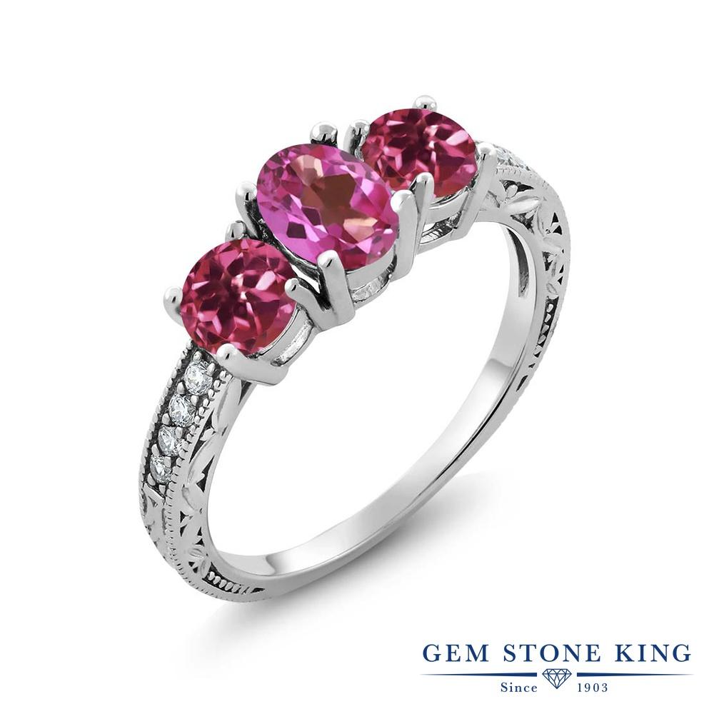 Gem Stone King 1.92カラット 天然 ミスティックトパーズ (ピンク) 天然 ピンクトルマリン シルバー925 指輪 リング レディース スリーストーン 天然石 金属アレルギー対応 誕生日プレゼント