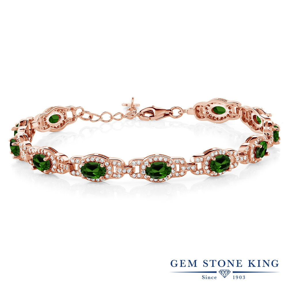 Gem Stone King 8.55カラット 天然 クロムダイオプサイド シルバー925 ピンクゴールドコーティング ブレスレット テニスブレスレット レディース 小粒 大ぶり 天然石 金属アレルギー対応 誕生日プレゼント