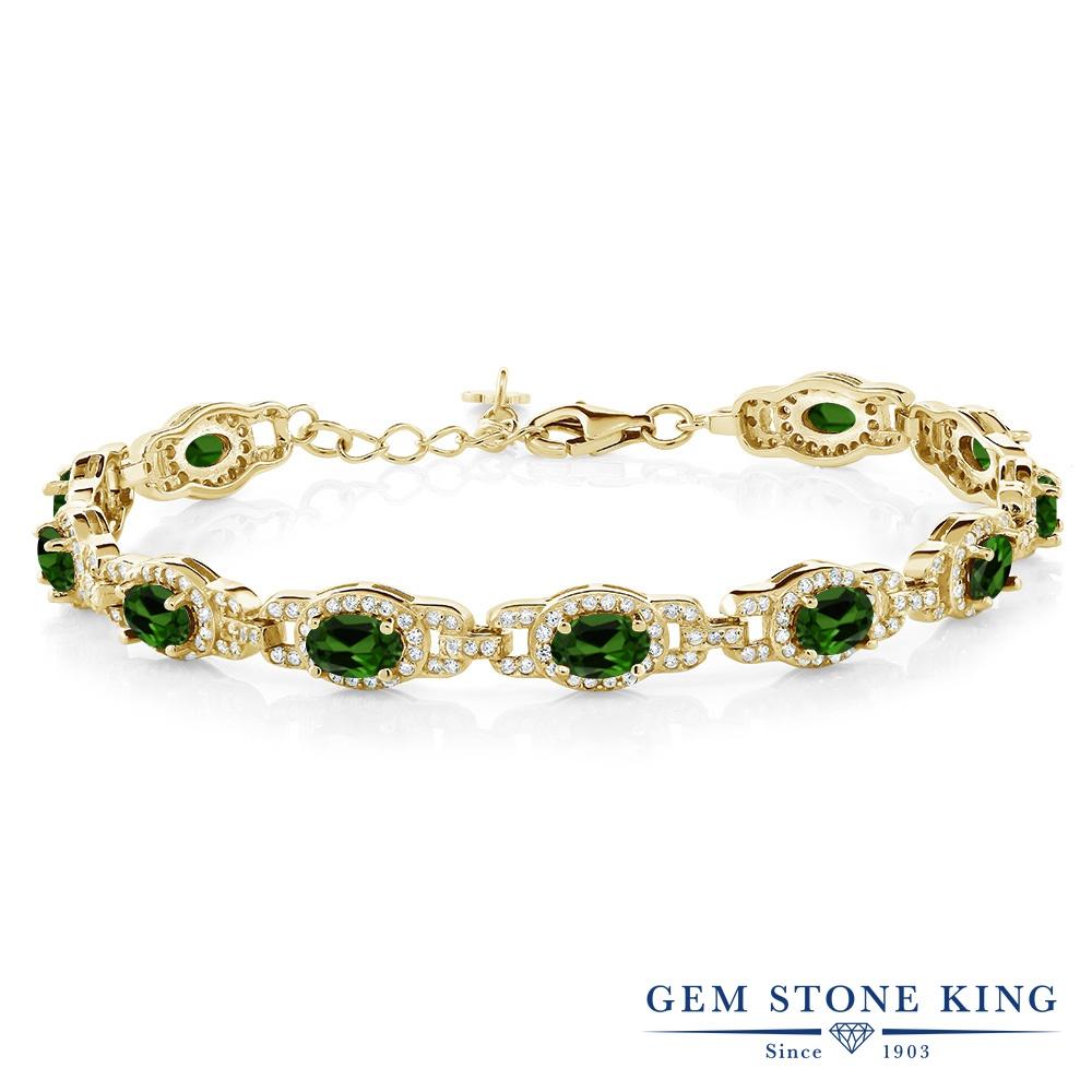 Gem Stone King 8.55カラット 天然 クロムダイオプサイド シルバー925 イエローゴールドコーティング ブレスレット テニスブレスレット レディース 小粒 大ぶり 天然石 金属アレルギー対応 誕生日プレゼント
