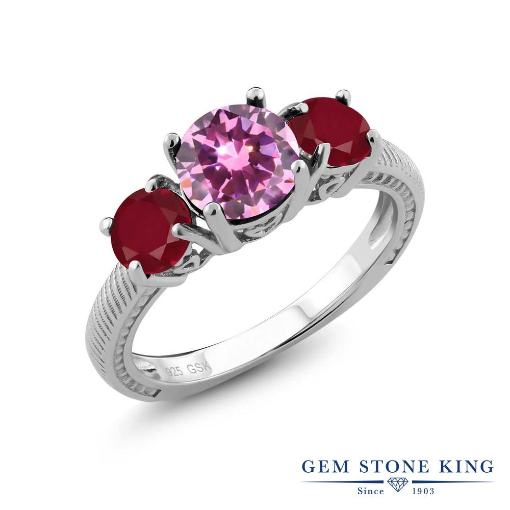Gem Stone King 2.38カラット ジルコニア (ピンク) 天然 ルビー シルバー925 指輪 リング レディース CZ 大粒 シンプル スリーストーン 金属アレルギー対応 誕生日プレゼント