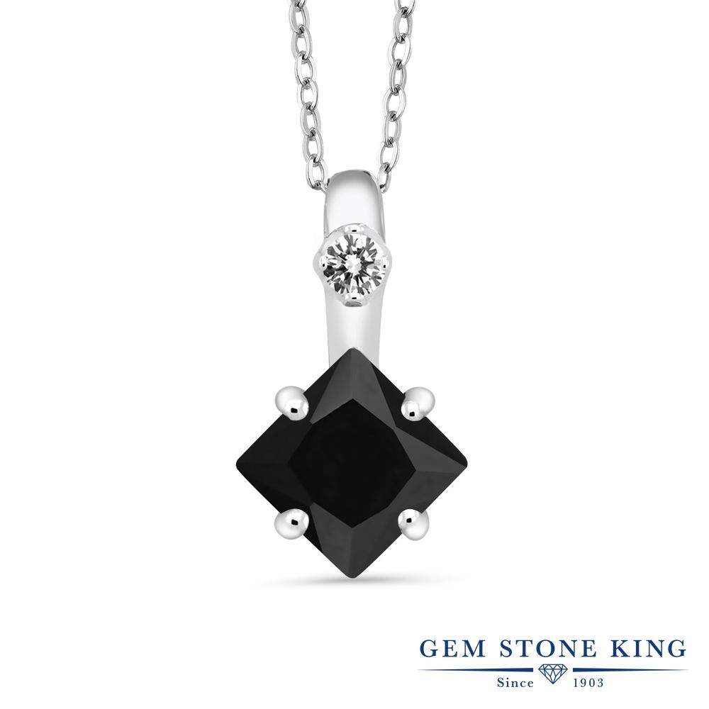 Gem Stone King 1.57カラット 天然 オニキス 天然 ダイヤモンド シルバー925 ネックレス ペンダント レディース 大粒 シンプル 天然石 8月 誕生石 金属アレルギー対応 誕生日プレゼント