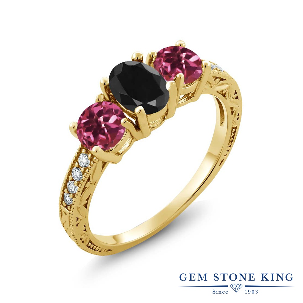 Gem Stone King 2.19カラット 天然 ブラックサファイア 天然 ピンクトルマリン シルバー925 イエローゴールドコーティング 指輪 リング レディース 大粒 スリーストーン 天然石 9月 誕生石 金属アレルギー対応 誕生日プレゼント