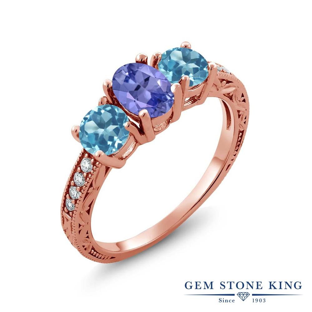 Gem Stone King 1.87カラット 天然石 タンザナイト 天然 スイスブルートパーズ 指輪 リング レディース シルバー925 ピンクゴールド 加工 スリーストーン 12月 誕生石 金属アレルギー対応