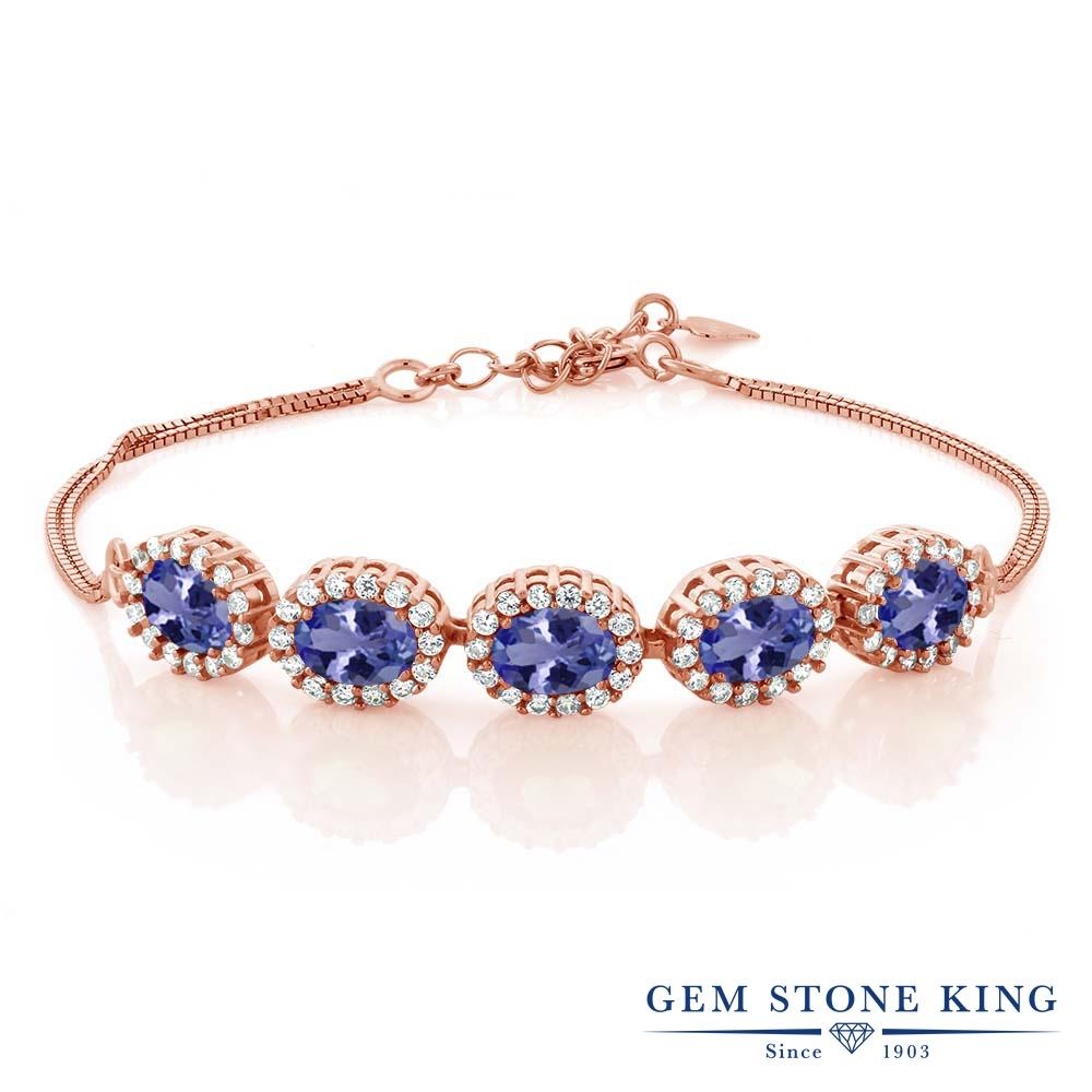 Gem Stone King 4.79カラット 天然石 タンザナイト シルバー925 ピンクゴールドコーティング ブレスレット テニスブレスレット レディース 大ぶり 天然石 12月 誕生石 金属アレルギー対応 誕生日プレゼント
