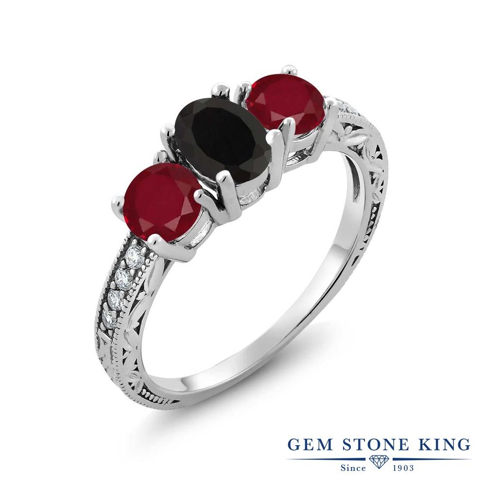 Gem Stone King 2.02カラット 天然 オニキス 天然 ルビー シルバー925 指輪 リング レディース スリーストーン 天然石 8月 誕生石 金属アレルギー対応 誕生日プレゼント