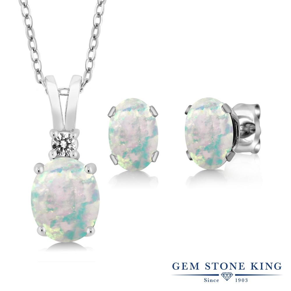 Gem Stone King 3.07カラット シミュレイテッド ホワイトオパール 天然 ダイヤモンド シルバー925 ペンダント&ピアスセット レディース 大粒 10月 誕生石 金属アレルギー対応 誕生日プレゼント