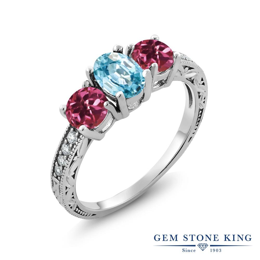 Gem Stone King 2.32カラット 天然石 ブルージルコン 天然 ピンクトルマリン シルバー925 指輪 リング レディース 大粒 スリーストーン 天然石 12月 誕生石 金属アレルギー対応 誕生日プレゼント