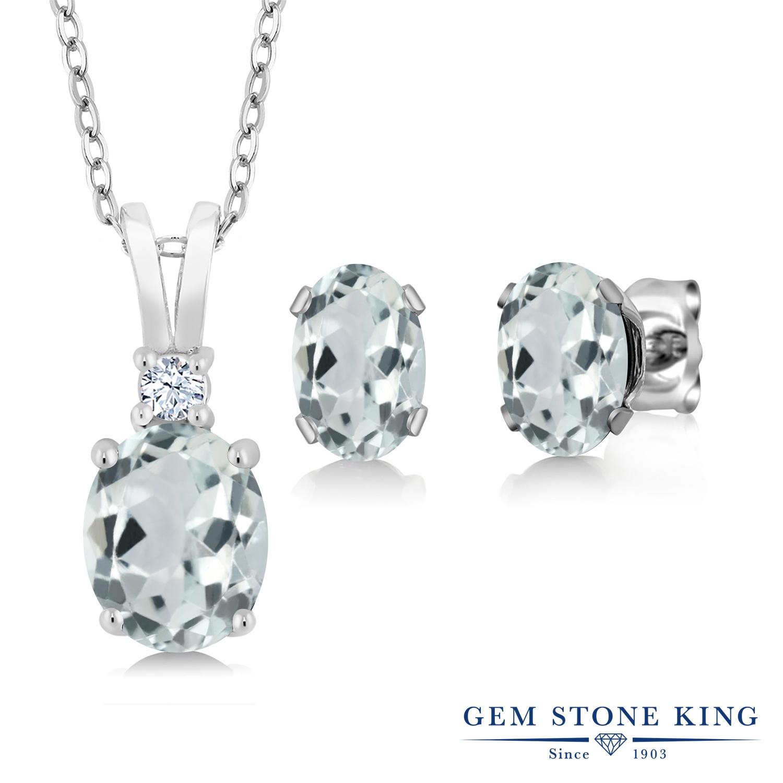 Gem Stone King 2.75カラット 天然 アクアマリン シルバー925 ペンダント&ピアスセット レディース 大粒 天然石 3月 誕生石 金属アレルギー対応 誕生日プレゼント