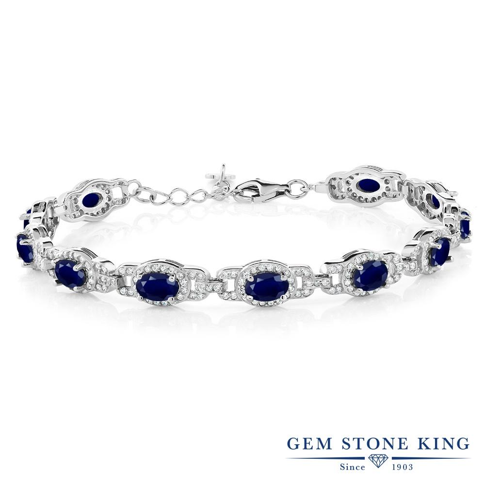 Gem Stone King 9.65カラット 天然 サファイア シルバー925 ブレスレット テニスブレスレット レディース 大ぶり 天然石 9月 誕生石 金属アレルギー対応 誕生日プレゼント