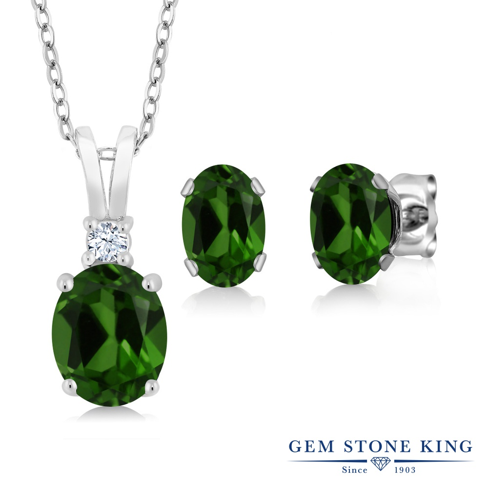 Gem Stone King 4.85カラット 天然 クロムダイオプサイド シルバー925 ペンダント&ピアスセット レディース 大粒 天然石 金属アレルギー対応 誕生日プレゼント