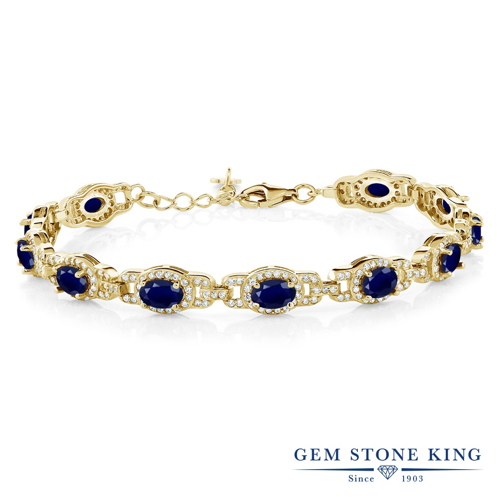 Gem Stone King 9.65カラット 天然 サファイア シルバー925 イエローゴールドコーティング ブレスレット テニスブレスレット レディース 大ぶり 天然石 9月 誕生石 金属アレルギー対応 誕生日プレゼント