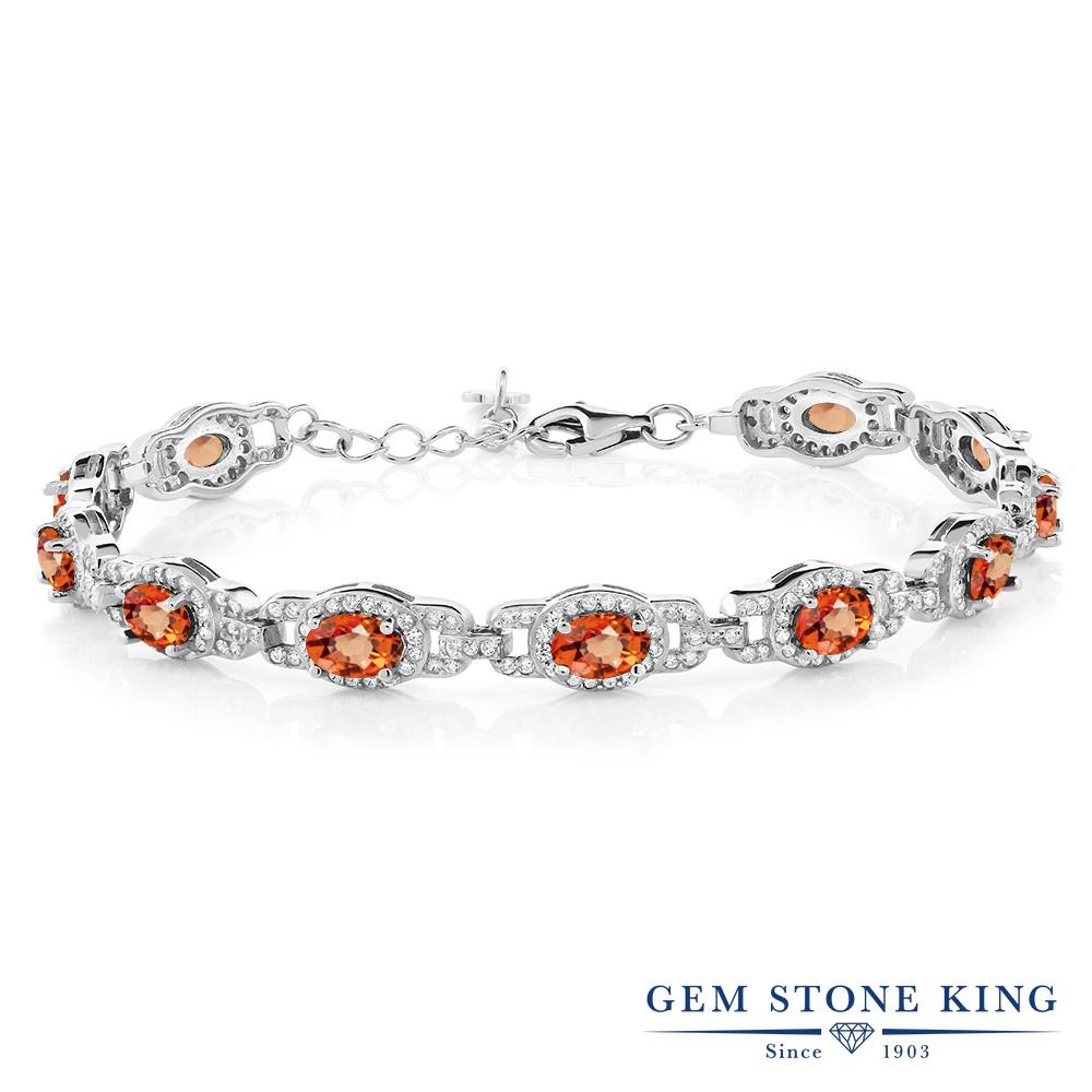 Gem Stone King 9.65カラット 天然 オレンジサファイア シルバー925 ブレスレット テニスブレスレット レディース 大ぶり 天然石 9月 誕生石 金属アレルギー対応 誕生日プレゼント