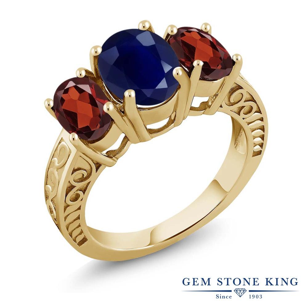 Gem Stone King 4.1カラット 天然 サファイア ガーネット 指輪 リング レディース シルバー925 イエローゴールド 加工 大粒 スリーストーン シンプル 天然石 9月 誕生石 金属アレルギー対応