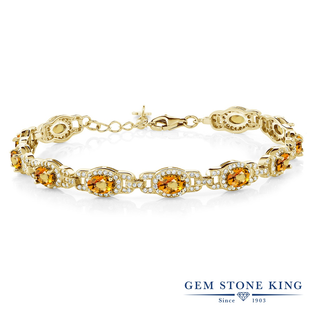 Gem Stone King 9.65カラット 天然 イエローサファイア シルバー925 イエローゴールドコーティング ブレスレット テニスブレスレット レディース 大ぶり 天然石 9月 誕生石 金属アレルギー対応 誕生日プレゼント