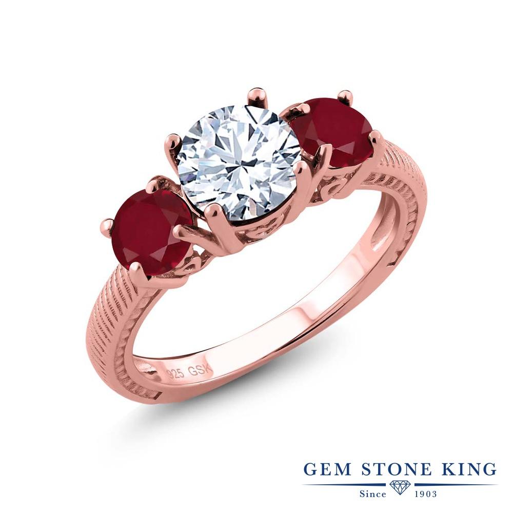 Gem Stone King 2.5カラット 天然 トパーズ (無色透明) 天然 ルビー シルバー925 ピンクゴールドコーティング 指輪 リング レディース 大粒 シンプル スリーストーン 天然石 11月 誕生石 金属アレルギー対応 誕生日プレゼント